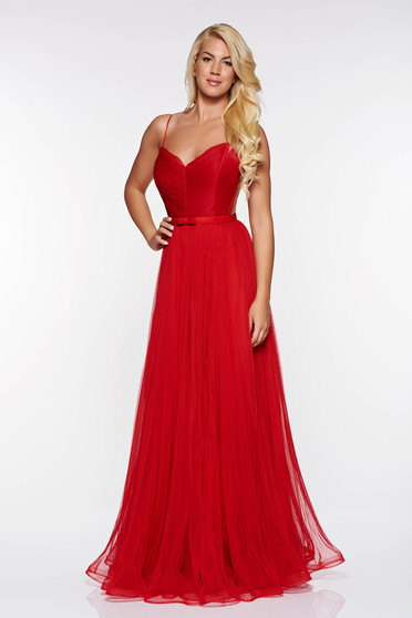Ana Radu red luxurious from tulle dress with inside lining with push-up cups with a cleavage