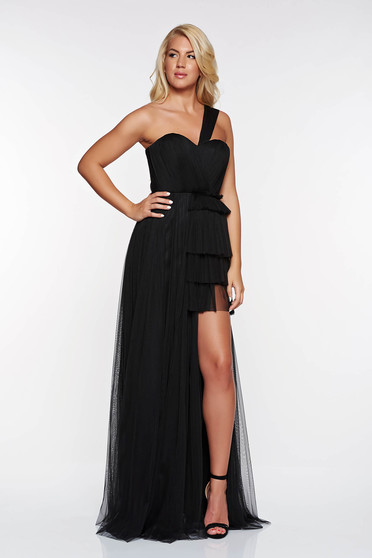 Ana Radu black luxurious from tulle dress with inside lining with push-up cups asymmetrical