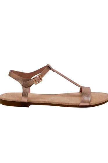 Top Secret gold sandals casual from ecological leather low heel with thin straps
