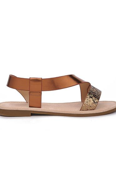 Top Secret peach sandals casual from ecological leather low heel