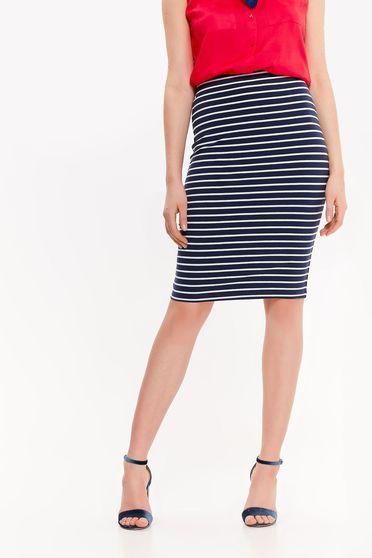Top Secret darkblue skirt casual pencil elastic cotton high waisted