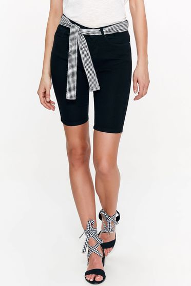 Top Secret black short casual cotton with tented cut accessorized with tied waistband with pockets