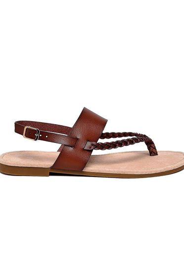 Top Secret brown sandals casual from ecological leather metallic buckle