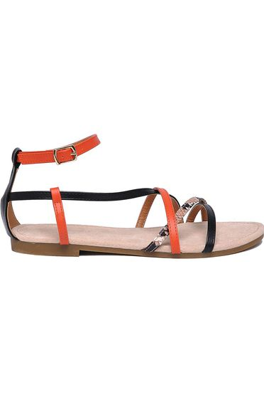 Top Secret orange sandals casual from ecological leather with thin straps