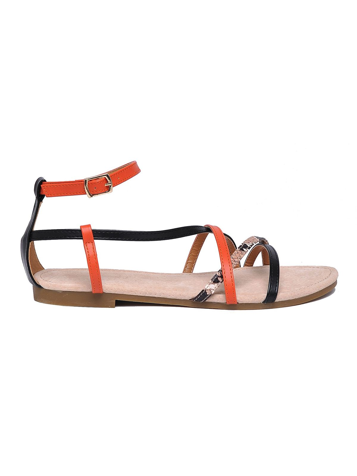 Sandale Top Secret portocalii casual din piele ecologica cu barete subtiri