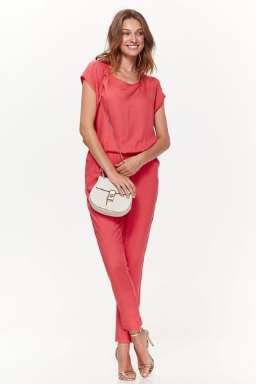 Top Secret orange casual jumpsuit airy fabric with pockets is fastened around the waist with a ribbon