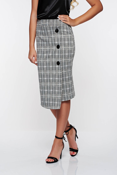Top Secret grey office high waisted skirt from non elastic fabric with inside lining