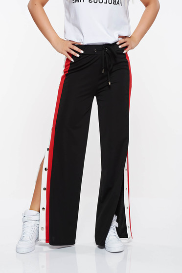 Top Secret black trousers casual with easy cut slightly elastic fabric flared