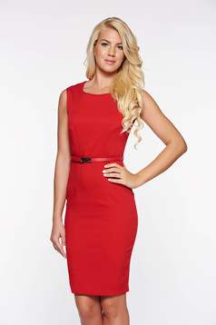 Top Secret red office pencil dress with inside lining