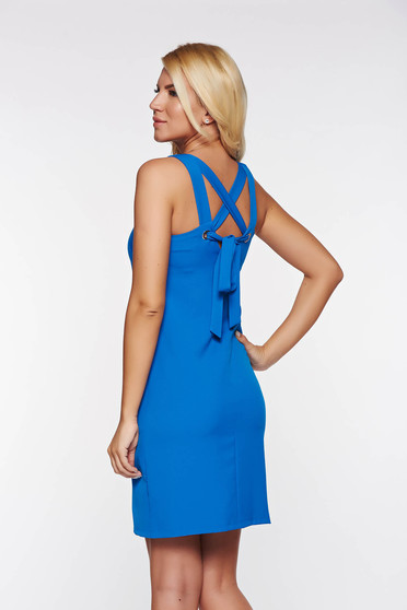 Top Secret blue casual a-line dress slightly elastic fabric with inside lining