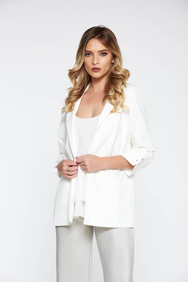 Top Secret white office jacket with straight cut with inside lining with faux pockets