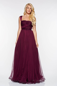 Ana Radu purple luxurious dress from tulle with inside lining corset accessorized with tied waistband