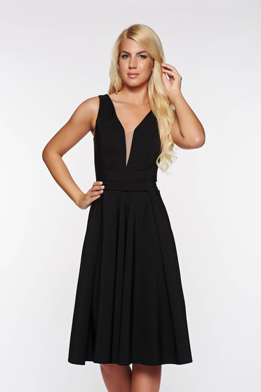 LaDonna black occasional cloche dress slightly elastic fabric with deep cleavage