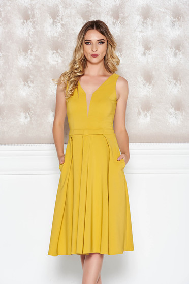 LaDonna mustard occasional cloche dress slightly elastic fabric with deep cleavage