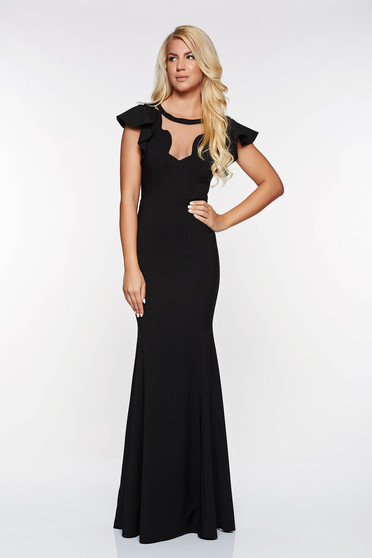 LaDonna black occasional mermaid dress slightly elastic fabric with v-neckline with inside lining
