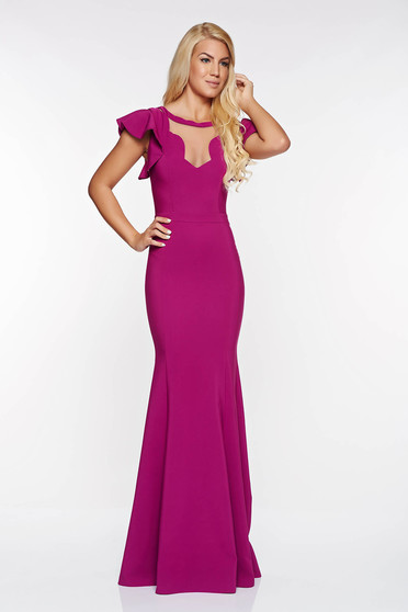 LaDonna purple occasional mermaid dress slightly elastic fabric with v-neckline with inside lining