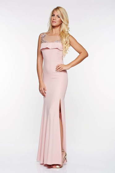 LaDonna rosa occasional dress mermaid with inside lining slightly elastic fabric with embroidery details