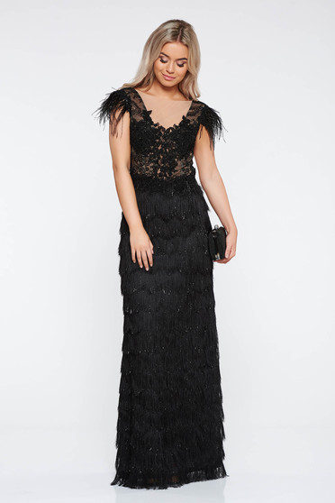 LaDonna black occasional dress from laced fabric with fringes with tented cut with deep cleavage