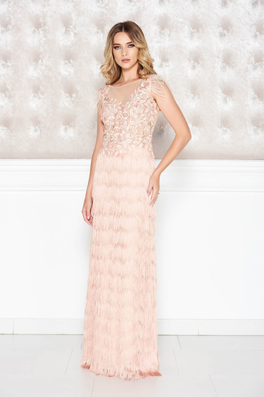 LaDonna rosa occasional dress from laced fabric with fringes with tented cut with deep cleavage