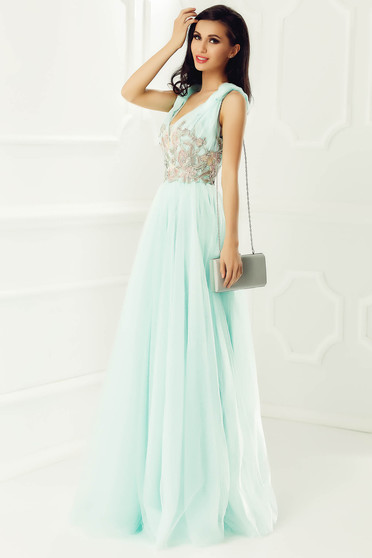 LaDonna mint occasional cloche dress from tulle with inside lining with embroidery details with deep cleavage