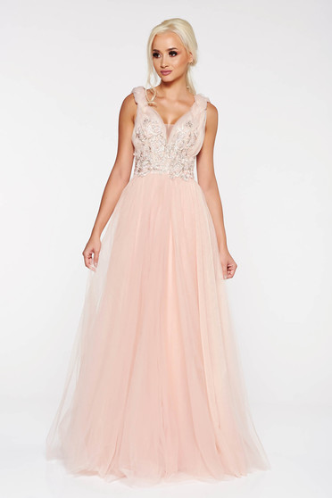 LaDonna rosa occasional cloche dress from tulle with inside lining with embroidery details with deep cleavage