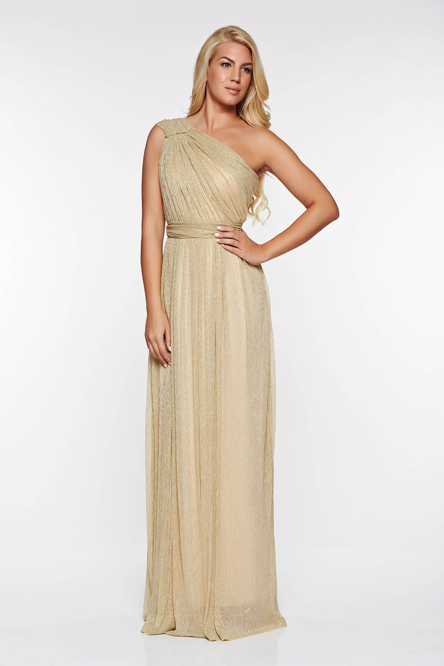 Arany LaDonna alkalmi ruha áttetsző anyag rakott lamé szál belső béléssel 919f5395f7