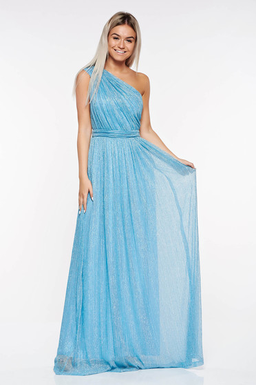 LaDonna lightblue occasional dress transparent fabric with lame thread with inside lining folded up