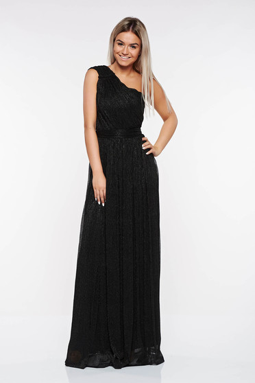 LaDonna black occasional dress transparent fabric with lame thread with inside lining folded up