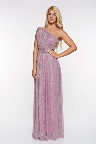 LaDonna rosa occasional dress transparent fabric with lame thread with inside lining folded up