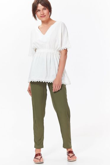 Top Secret white casual flared women`s blouse airy fabric with lace details