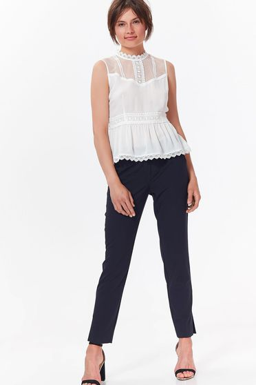 Top Secret white women`s blouse casual transparent chiffon fabric with lace details