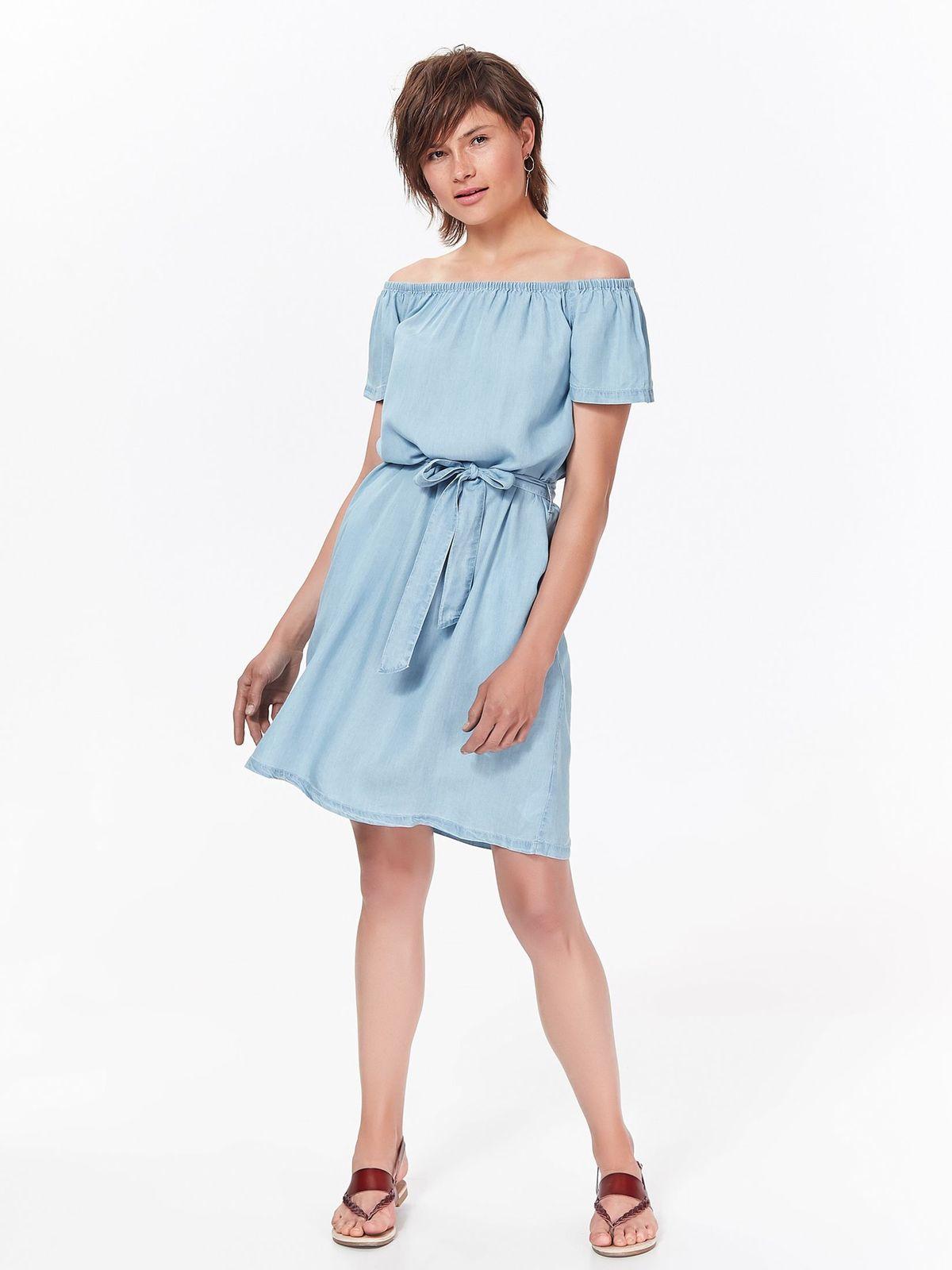 Rochie Top Secret albastra-deschis de zi cu croi larg din denim accesorizata cu cordon