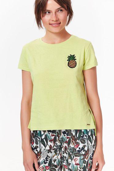 Top Secret mint casual flared t-shirt cotton short cut