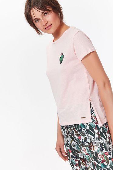 Top Secret rosa casual flared t-shirt cotton short cut