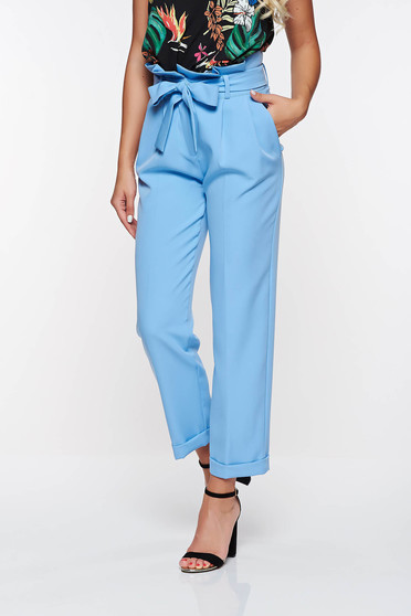 PrettyGirl lightblue high waisted office trousers slightly elastic fabric with pockets