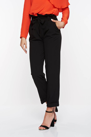 PrettyGirl black high waisted office trousers slightly elastic fabric with pockets