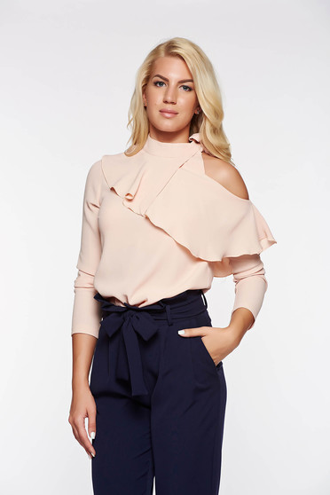 PrettyGirl rosa elegant women`s blouse airy fabric both shoulders cut out with ruffle details