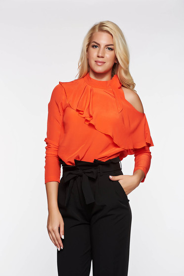 PrettyGirl coral elegant women`s blouse airy fabric both shoulders cut out with ruffle details