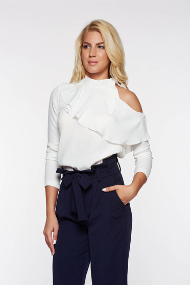 PrettyGirl white elegant women`s blouse airy fabric both shoulders cut out with ruffle details