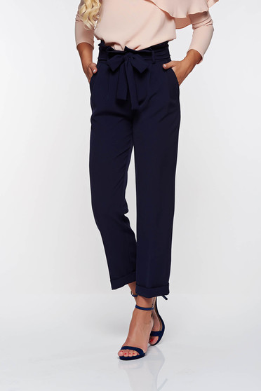 PrettyGirl darkblue high waisted office trousers slightly elastic fabric with pockets