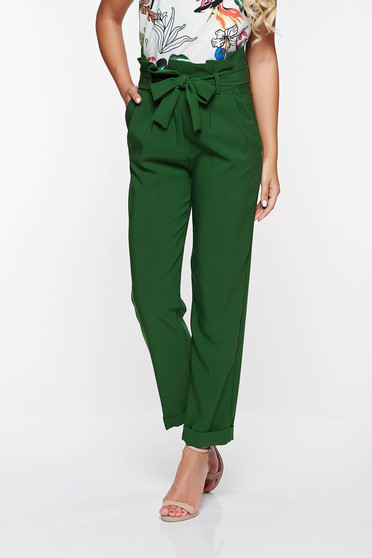 PrettyGirl green high waisted office trousers slightly elastic fabric with pockets