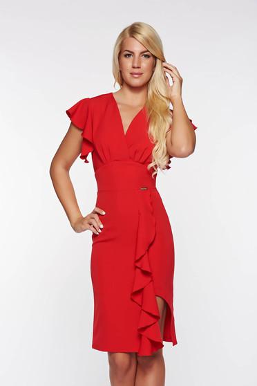 PrettyGirl red elegant dress with ruffle details slightly elastic fabric with inside lining pencil