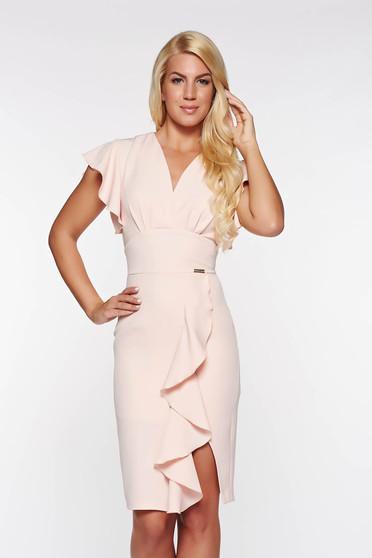 PrettyGirl rosa elegant dress with ruffle details slightly elastic fabric with inside lining pencil