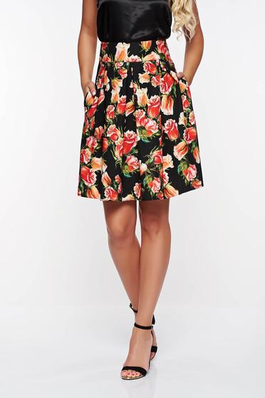 PrettyGirl black elegant cloche skirt slightly elastic fabric high waisted with pockets