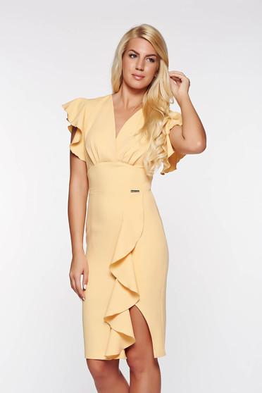 PrettyGirl yellow elegant dress with ruffle details slightly elastic fabric with inside lining pencil