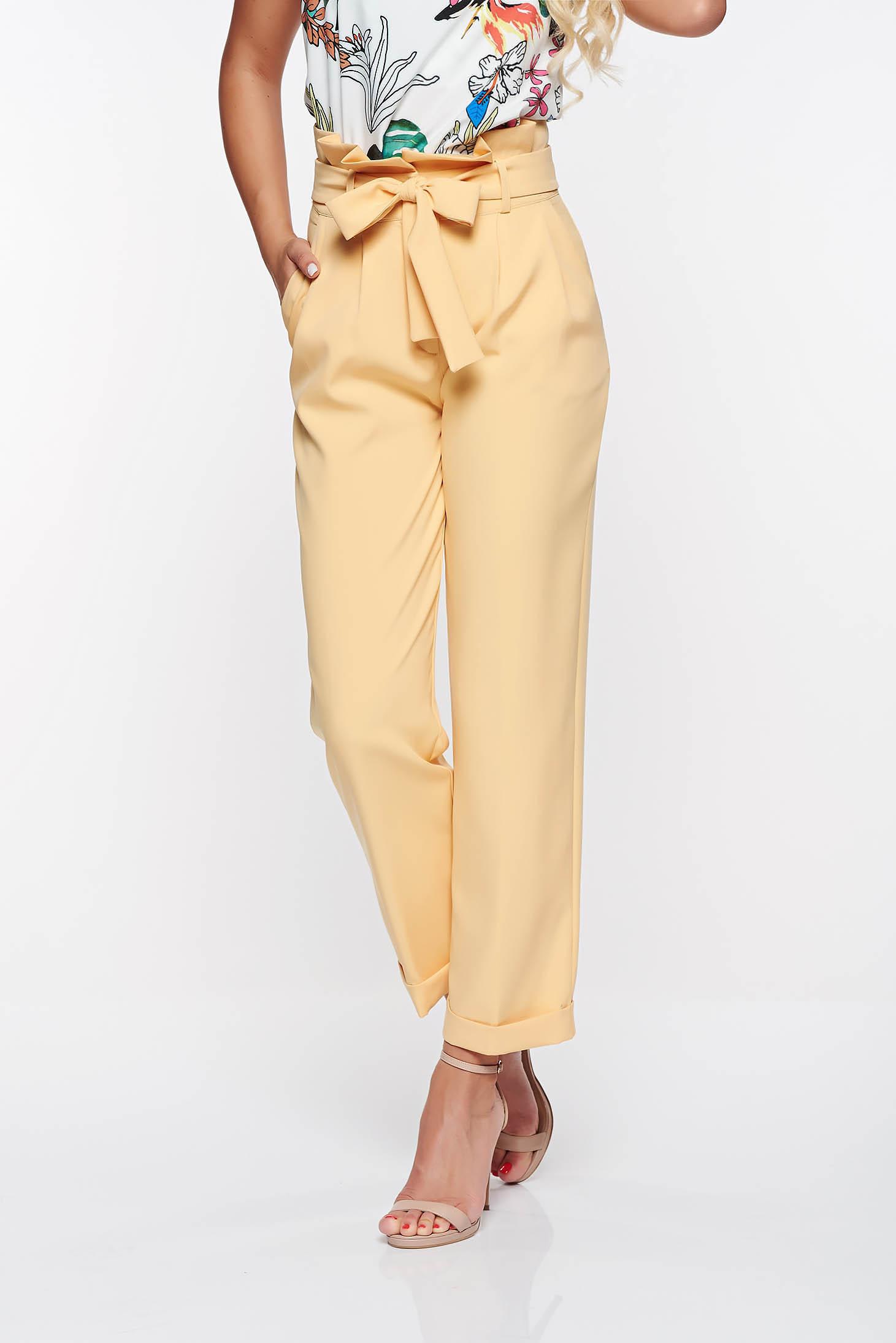 b71b461a54 Sárga PrettyGirl magas derekú irodai nadrág enyhén elasztikus szövet zsebes