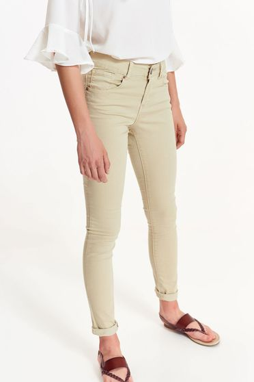 Top Secret peach trousers casual cotton with medium waist with pockets
