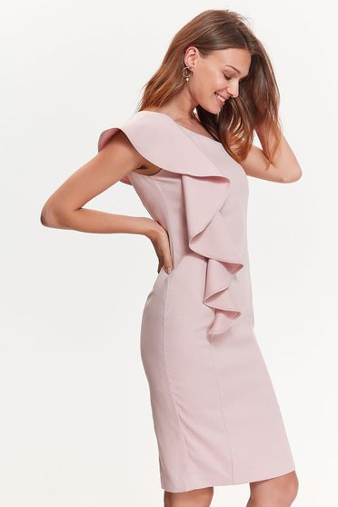 Top Secret pink elegant pencil dress slightly elastic fabric with ruffle details