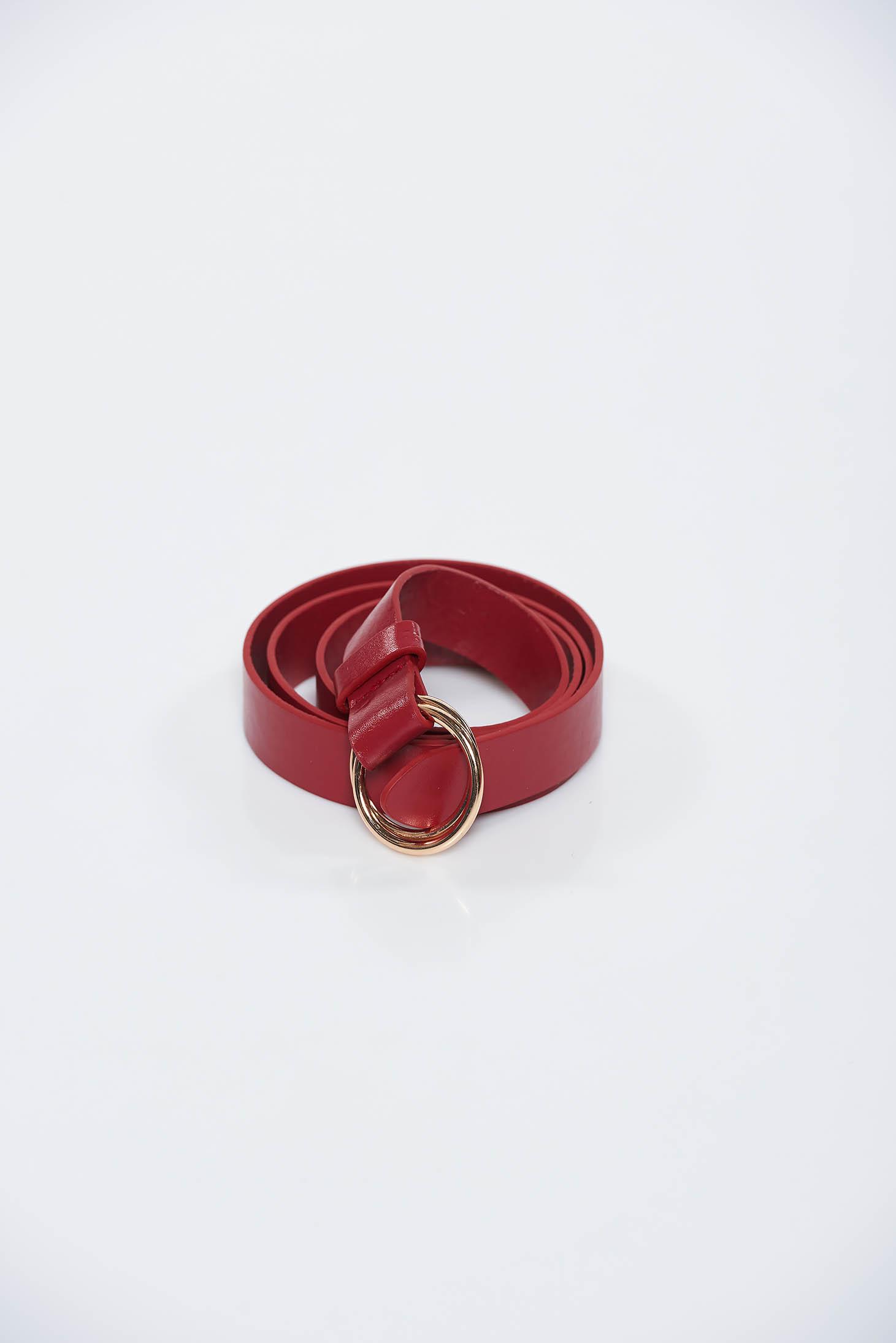 Curea StarShinerS rosie din piele ecologica accesorizata cu o catarama metalica