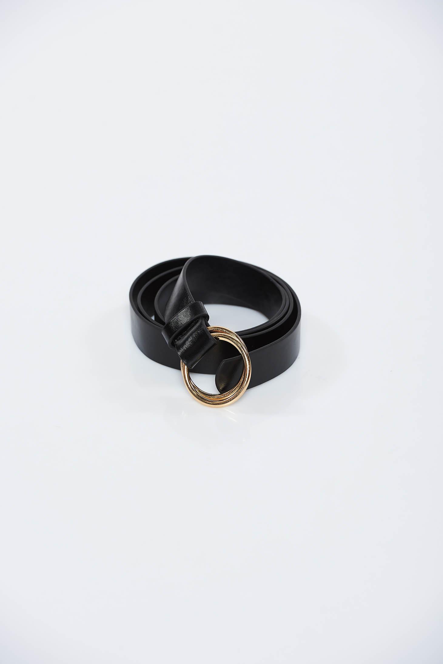 Curea StarShinerS neagra din piele ecologica accesorizata cu o catarama metalica